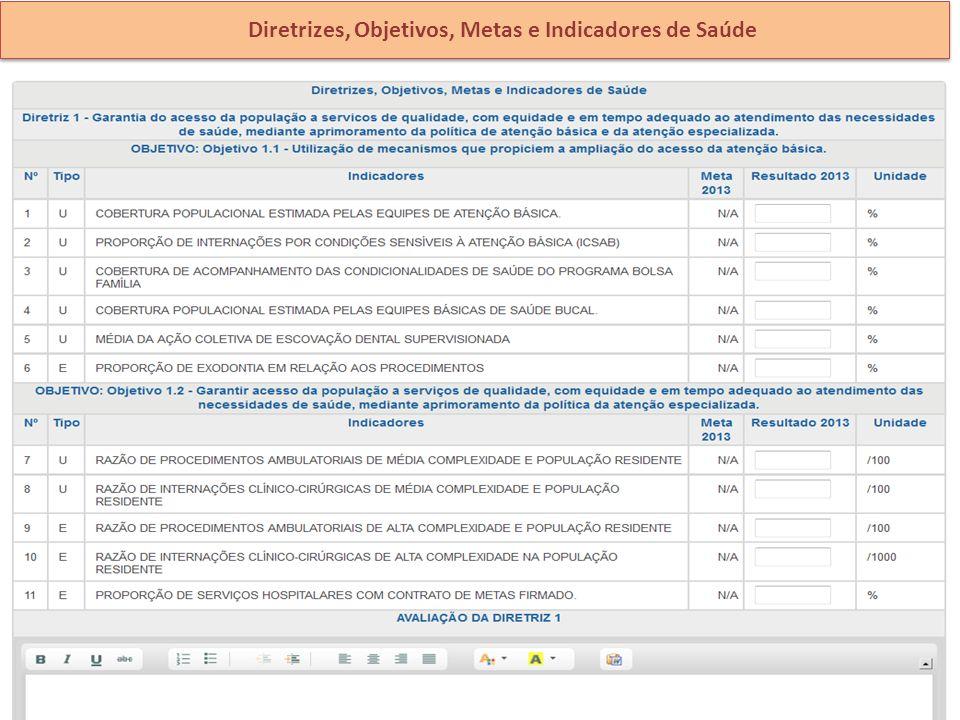 Diretrizes, Objetivos, Metas e Indicadores de Saúde