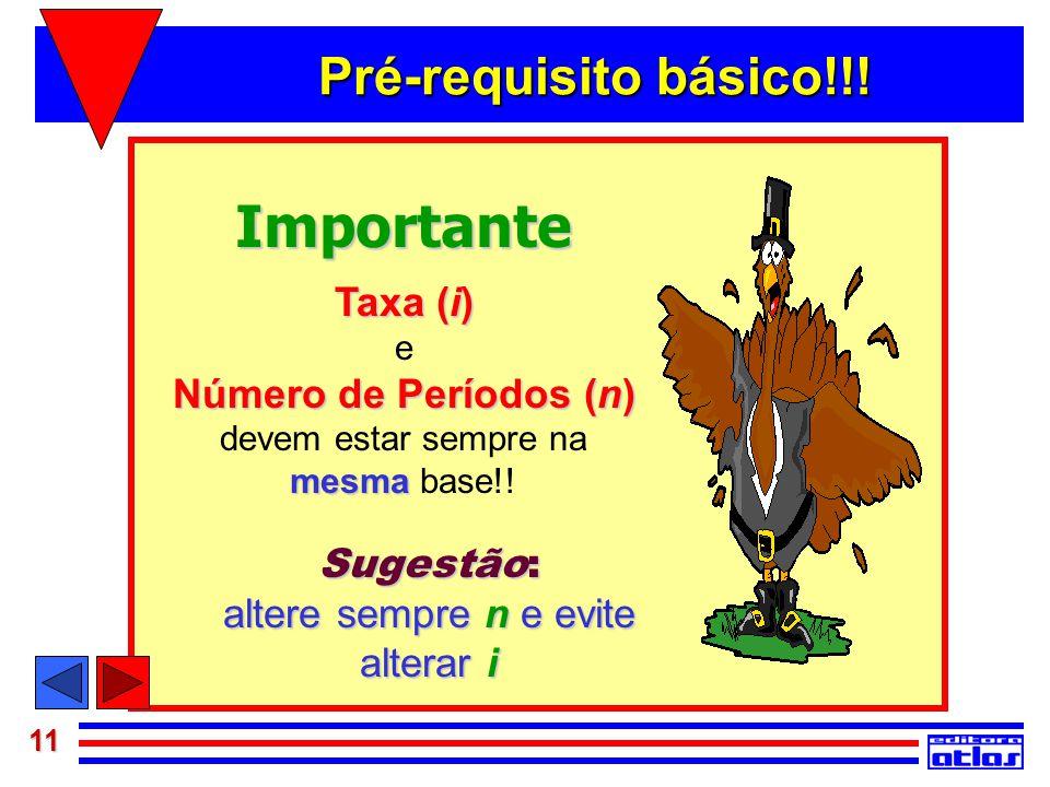 11 Importante Taxa (i) e Número de Períodos (n) devem estar sempre na mesma mesma base!! Sugestão: altere sempre n e evite alterar i Pré-requisito bás