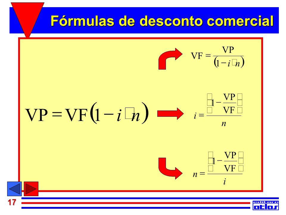 17 Juros Simples  niVFVP  1  ni VF   1 n VP i         1 i VF VP n         1 Fórmulas de desconto comercial