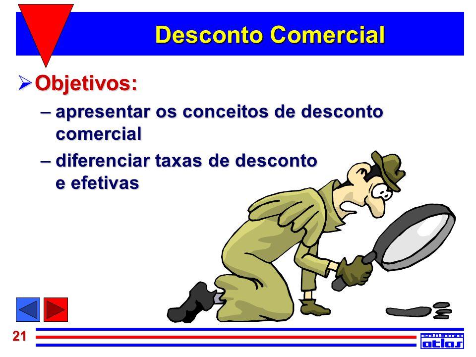 21 Desconto Comercial  Objetivos: –apresentar os conceitos de desconto comercial –diferenciar taxas de desconto e efetivas
