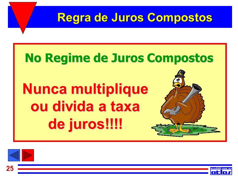 25 No Regime de Juros Compostos Nunca multiplique ou divida a taxa de juros!!!! Regra de Juros Compostos