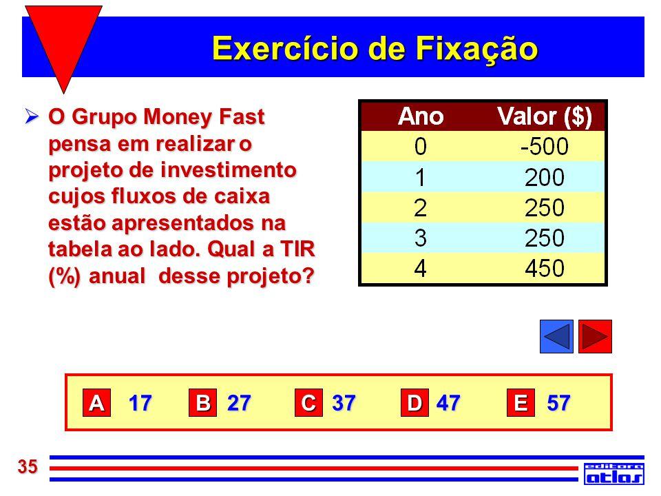 35 Exercício de Fixação  O Grupo Money Fast pensa em realizar o projeto de investimento cujos fluxos de caixa estão apresentados na tabela ao lado. Q