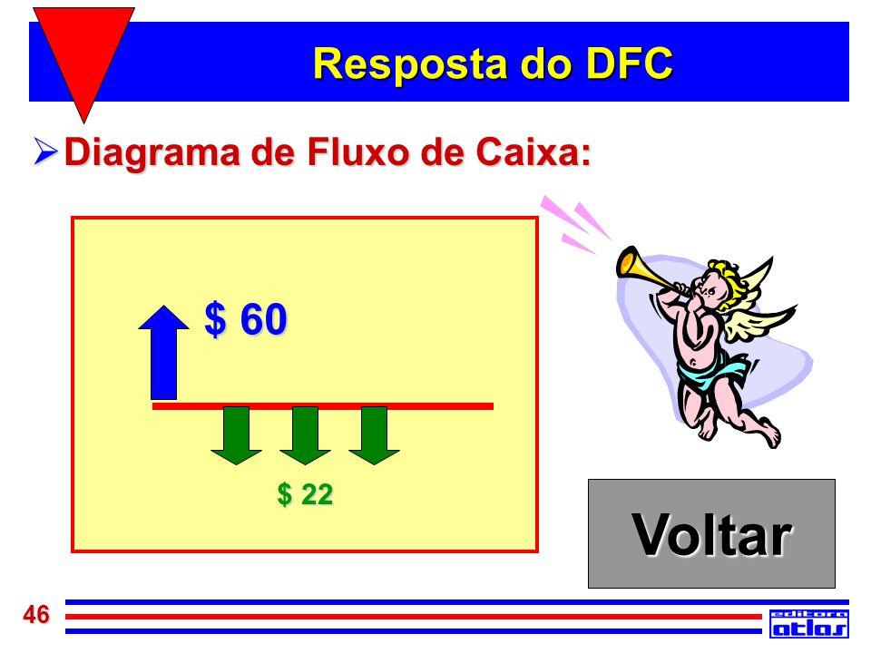 46 Resposta do DFC  Diagrama de Fluxo de Caixa: Voltar $ 60 $ 22
