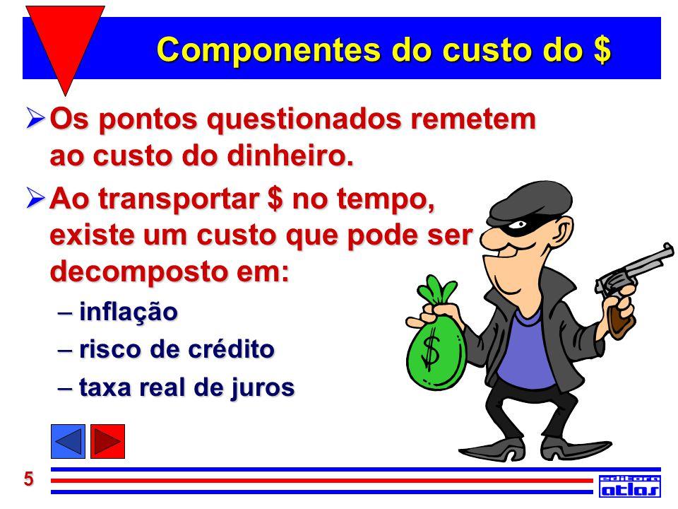 5 Componentes do custo do $  Os pontos questionados remetem ao custo do dinheiro.  Ao transportar $ no tempo, existe um custo que pode ser decompost