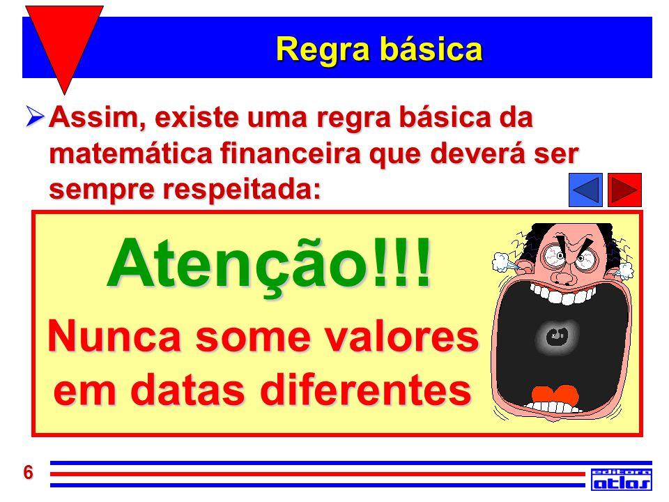 6 Nunca some valores em datas diferentes Atenção!!! Regra básica  Assim, existe uma regra básica da matemática financeira que deverá ser sempre respe
