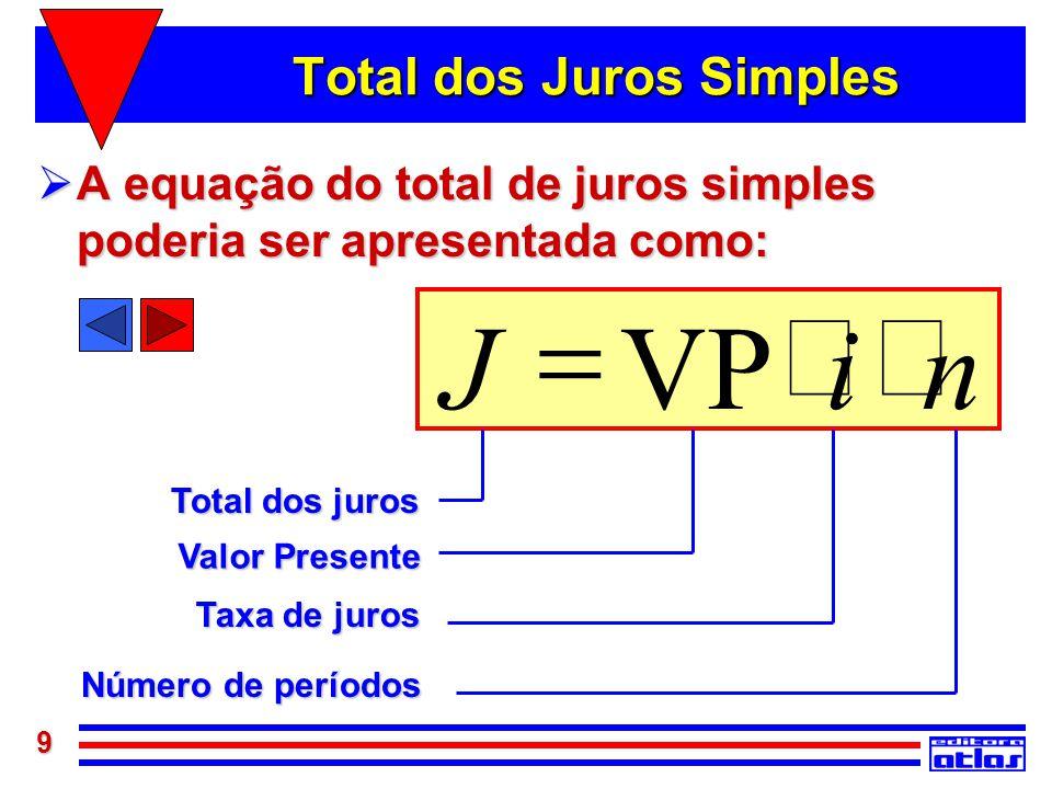 9 Total dos Juros Simples  A equação do total de juros simples poderia ser apresentada como: niVPJ  Número de períodos Taxa de juros Valor Present