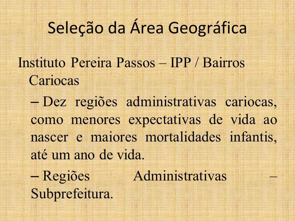 Seleção da Área Geográfica Instituto Pereira Passos – IPP / Bairros Cariocas – Dez regiões administrativas cariocas, como menores expectativas de vida ao nascer e maiores mortalidades infantis, até um ano de vida.