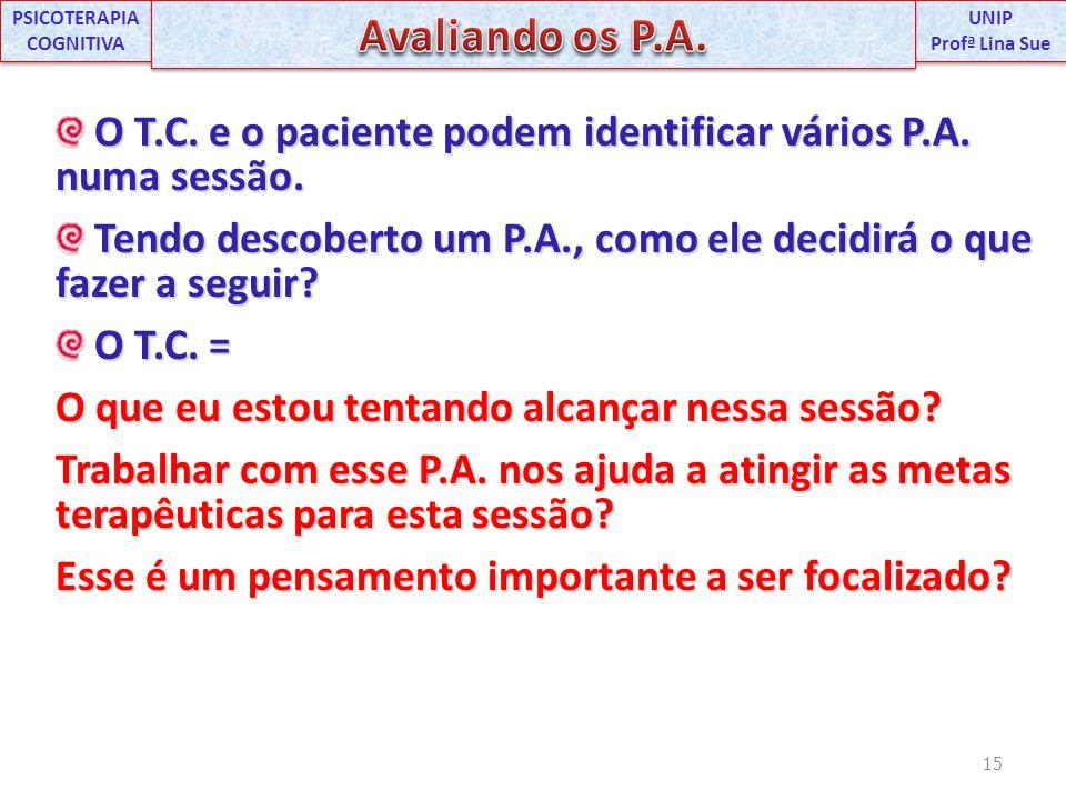 O T.C. e o paciente podem identificar vários P.A. numa sessão. O T.C. e o paciente podem identificar vários P.A. numa sessão. Tendo descoberto um P.A.