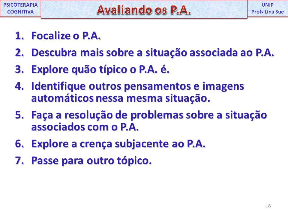 1.Focalize o P.A. 2.Descubra mais sobre a situação associada ao P.A. 3.Explore quão típico o P.A. é. 4.Identifique outros pensamentos e imagens automá