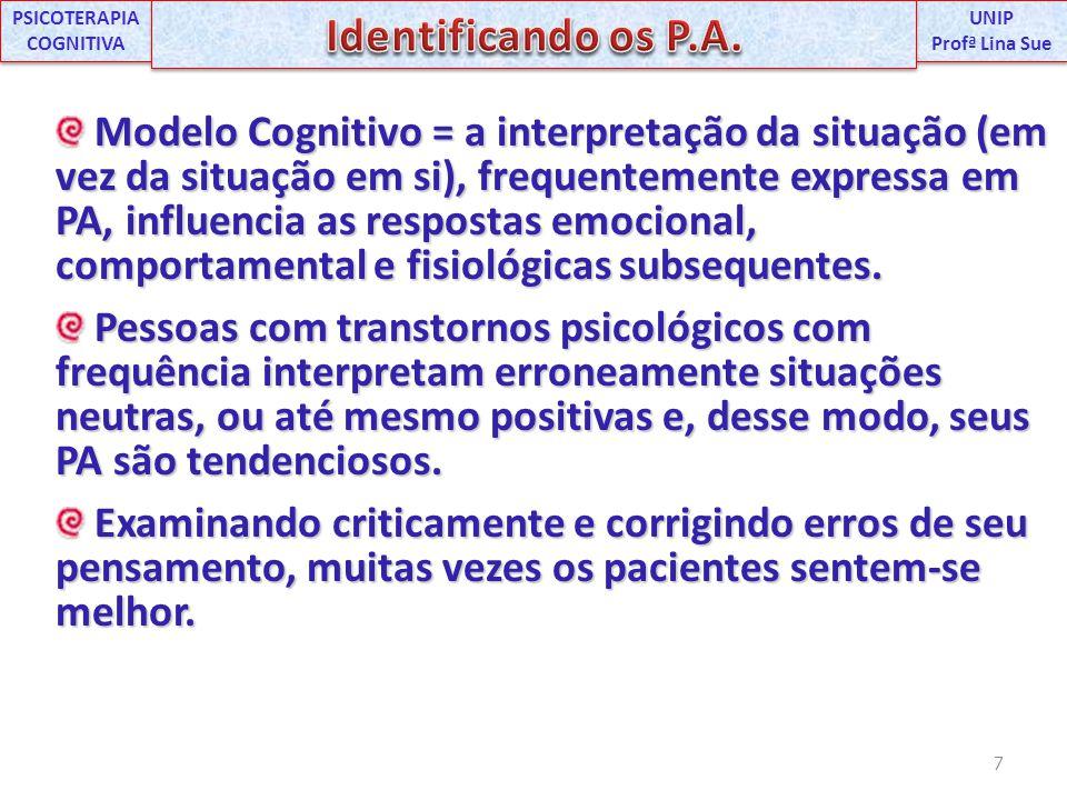Modelo Cognitivo = a interpretação da situação (em vez da situação em si), frequentemente expressa em PA, influencia as respostas emocional, comportam