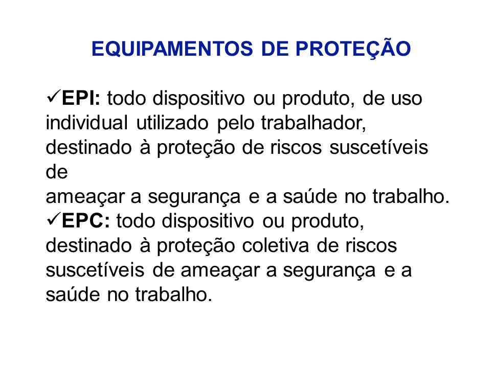 EQUIPAMENTOS DE PROTEÇÃO EPI: todo dispositivo ou produto, de uso individual utilizado pelo trabalhador, destinado à proteção de riscos suscetíveis de ameaçar a segurança e a saúde no trabalho.