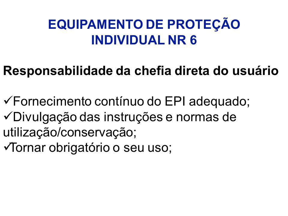 EQUIPAMENTO DE PROTEÇÃO INDIVIDUAL NR 6 Responsabilidade da chefia direta do usuário Fornecimento contínuo do EPI adequado; Divulgação das instruções e normas de utilização/conservação; Tornar obrigatório o seu uso;