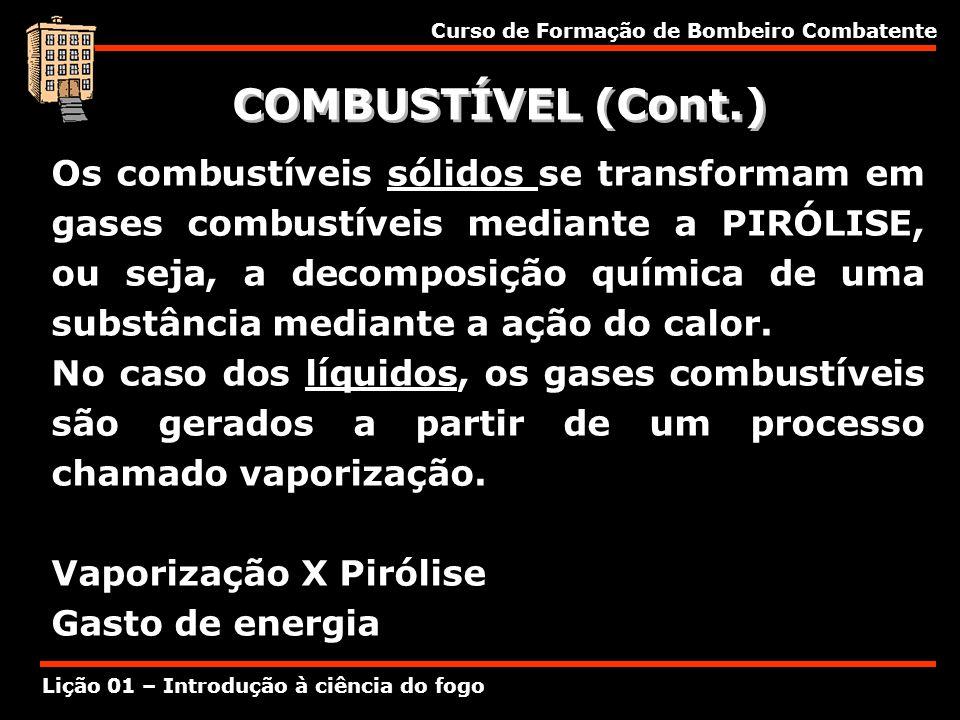 Curso de Formação de Bombeiro Combatente Lição 01 – Introdução à ciência do fogo COMBUSTÍVEL (Cont.) Os combustíveis sólidos se transformam em gases c