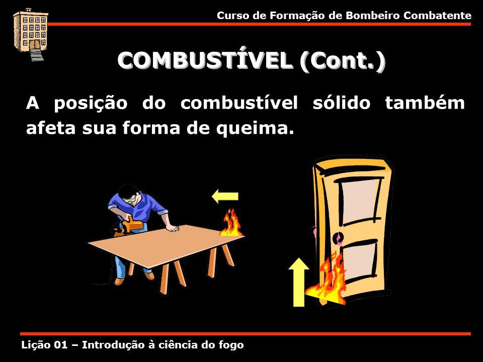 Curso de Formação de Bombeiro Combatente Lição 01 – Introdução à ciência do fogo COMBUSTÍVEL (Cont.) A posição do combustível sólido também afeta sua