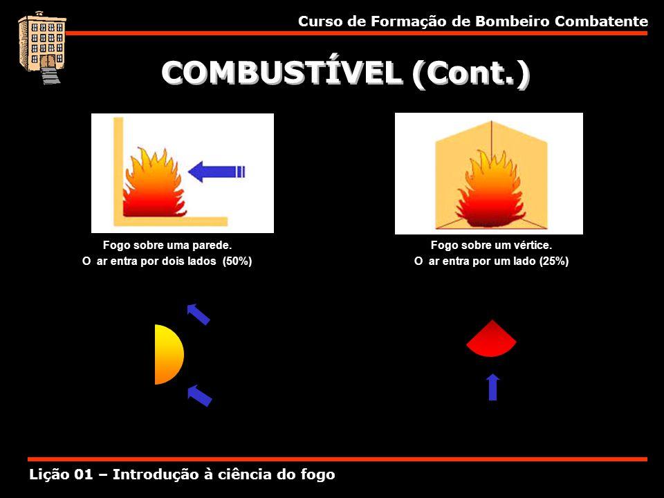 Curso de Formação de Bombeiro Combatente Lição 01 – Introdução à ciência do fogo COMBUSTÍVEL (Cont.) Fogo sobre uma parede. O ar entra por dois lados