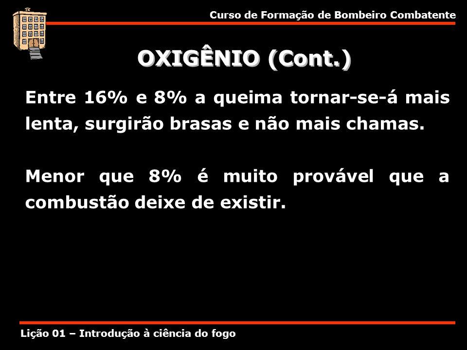 Curso de Formação de Bombeiro Combatente Lição 01 – Introdução à ciência do fogo OXIGÊNIO (Cont.) Entre 16% e 8% a queima tornar-se-á mais lenta, surg