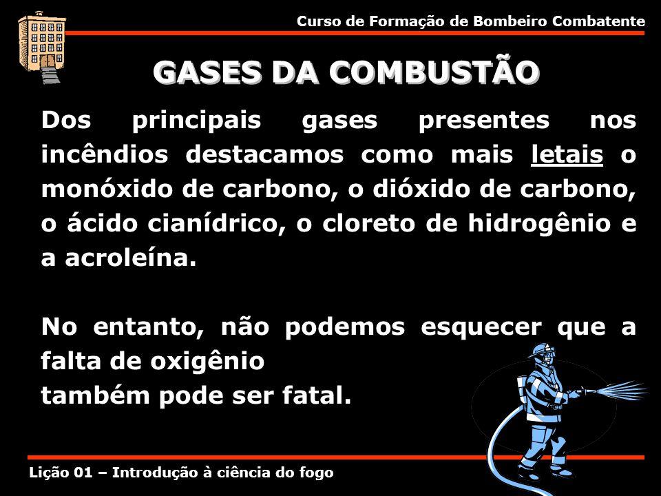 Curso de Formação de Bombeiro Combatente Lição 01 – Introdução à ciência do fogo GASES DA COMBUSTÃO Dos principais gases presentes nos incêndios desta
