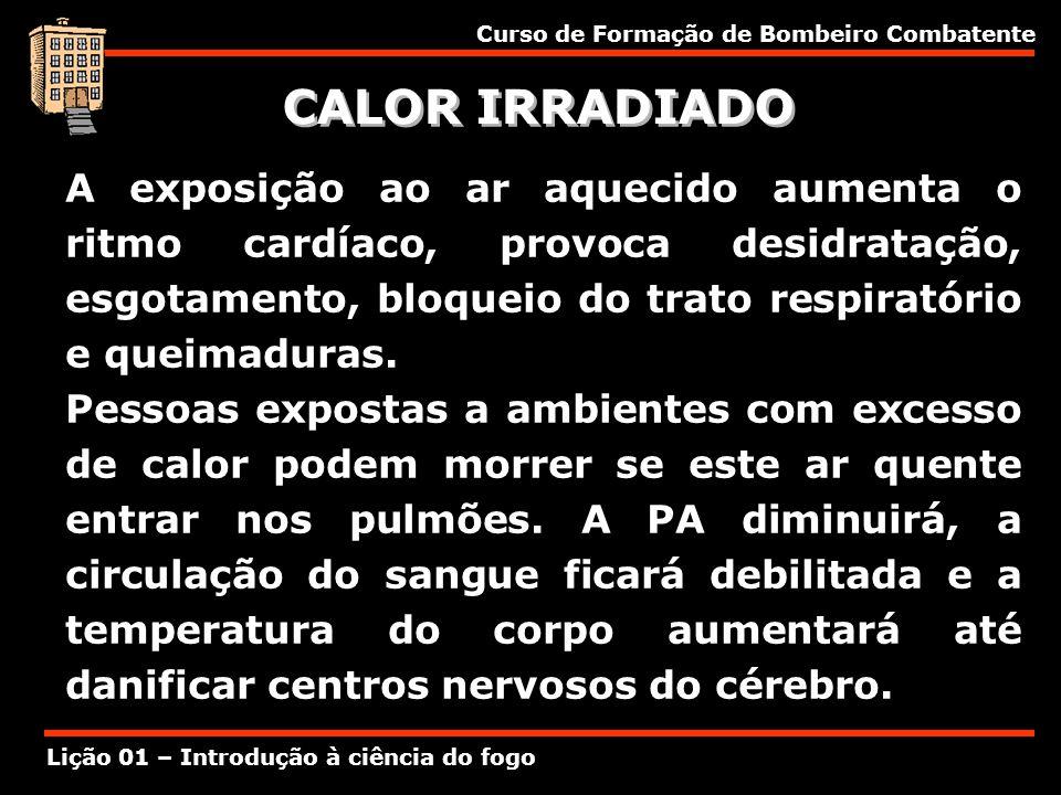 Curso de Formação de Bombeiro Combatente Lição 01 – Introdução à ciência do fogo CALOR IRRADIADO A exposição ao ar aquecido aumenta o ritmo cardíaco,