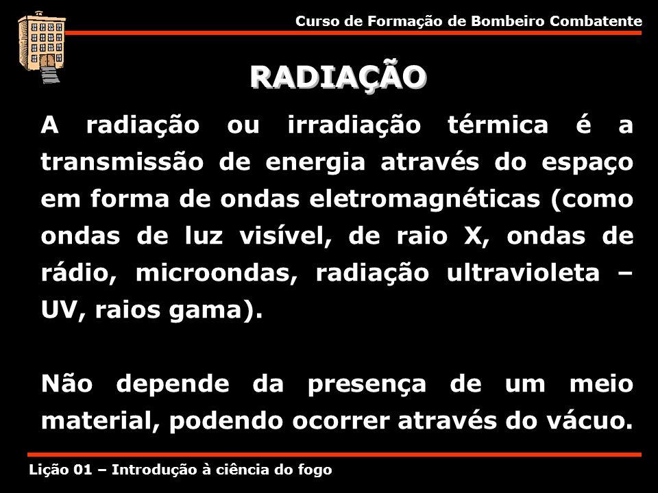 Curso de Formação de Bombeiro Combatente Lição 01 – Introdução à ciência do fogo RADIAÇÃO A radiação ou irradiação térmica é a transmissão de energia
