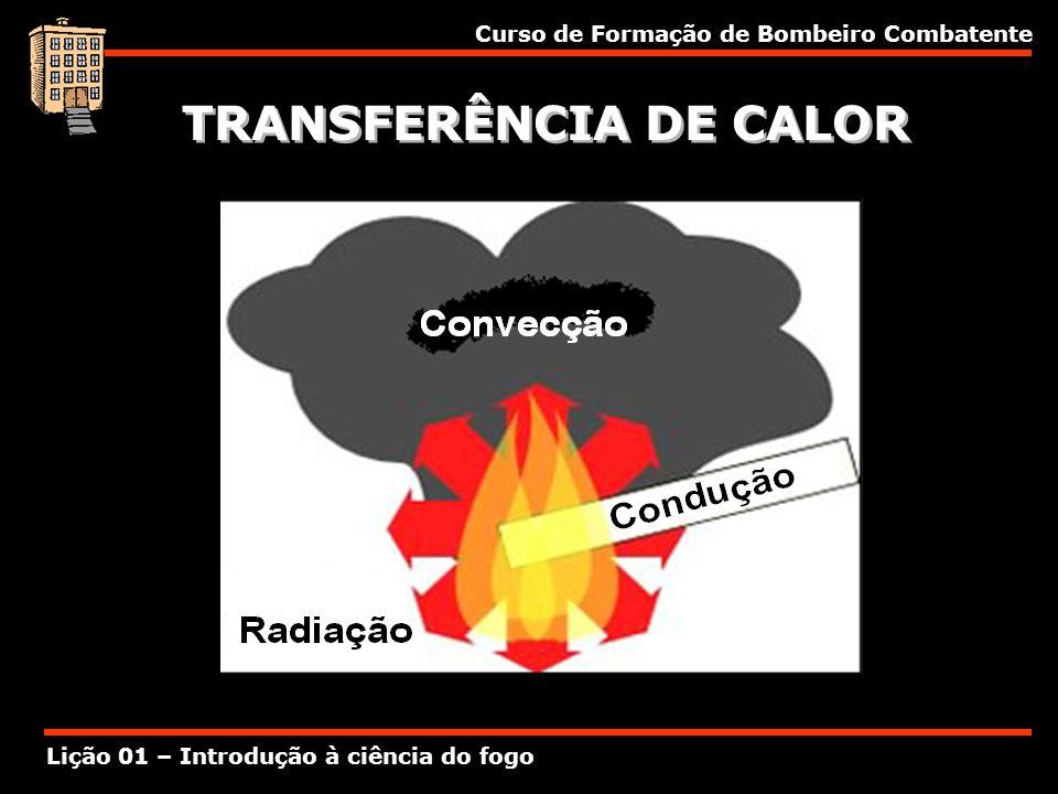 Curso de Formação de Bombeiro Combatente Lição 01 – Introdução à ciência do fogo TRANSFERÊNCIA DE CALOR