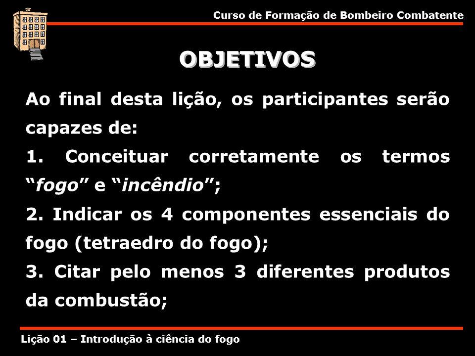 Curso de Formação de Bombeiro Combatente Lição 01 – Introdução à ciência do fogo OBJETIVOS Ao final desta lição, os participantes serão capazes de: 1.