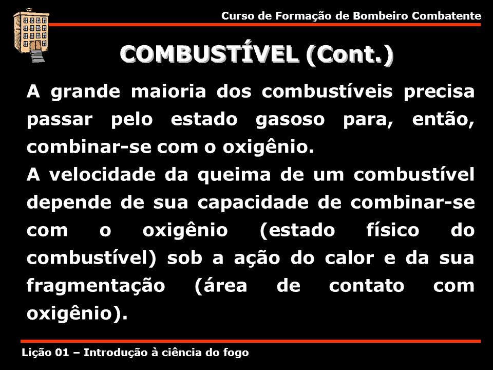 Curso de Formação de Bombeiro Combatente Lição 01 – Introdução à ciência do fogo COMBUSTÍVEL (Cont.) A grande maioria dos combustíveis precisa passar