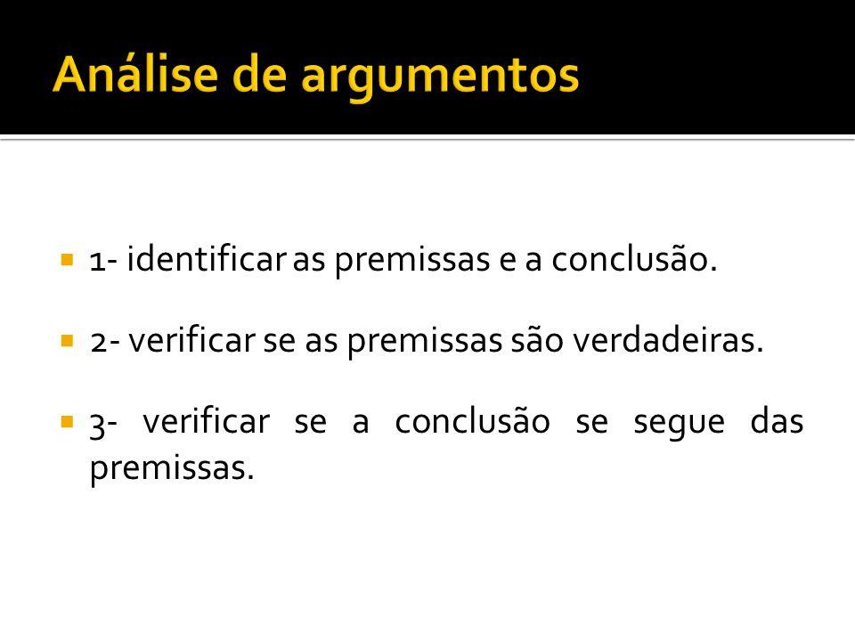  1- identificar as premissas e a conclusão.  2- verificar se as premissas são verdadeiras.