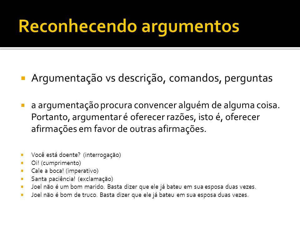  Argumentação vs descrição, comandos, perguntas  a argumentação procura convencer alguém de alguma coisa.