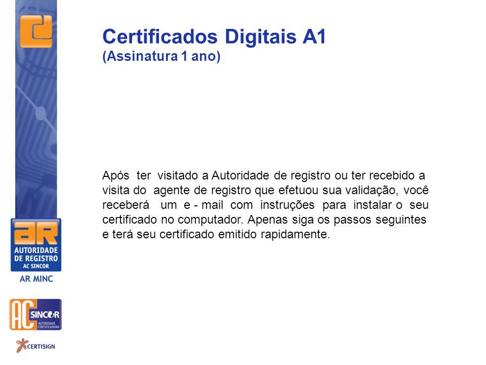 Após ter visitado a Autoridade de registro ou ter recebido a visita do agente de registro que efetuou sua validação, você receberá um e - mail com instruções para instalar o seu certificado no computador.