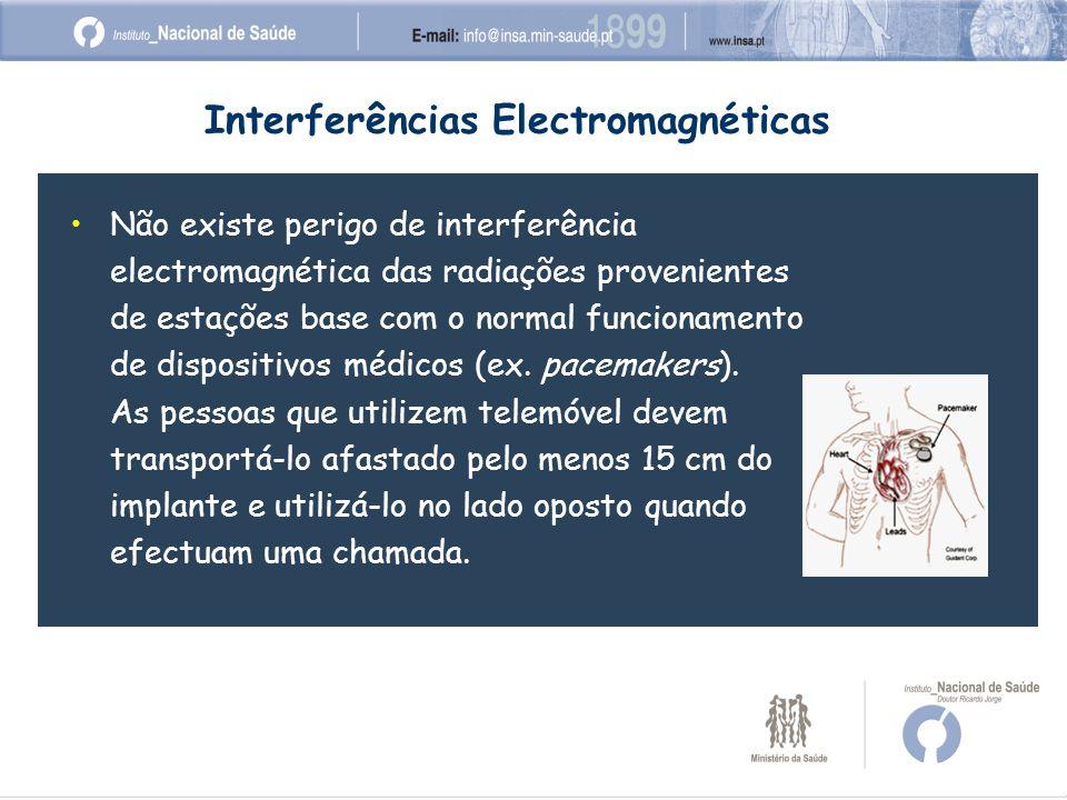 Não existe perigo de interferência electromagnética das radiações provenientes de estações base com o normal funcionamento de dispositivos médicos (ex.