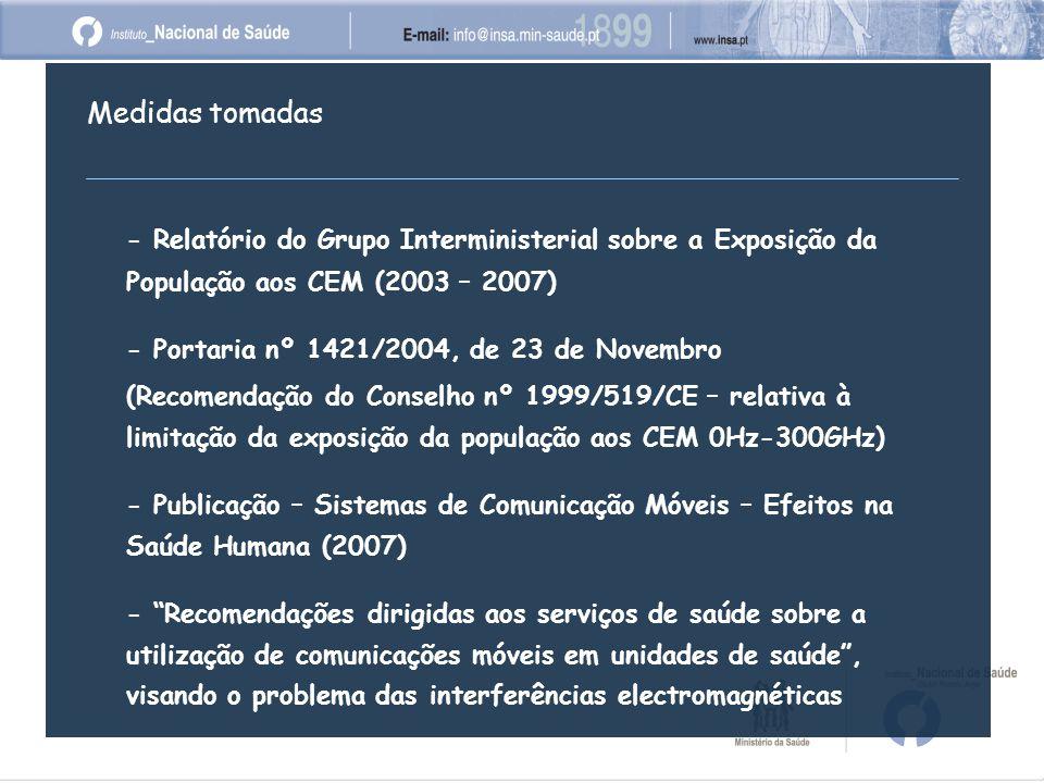 Medidas tomadas - Relatório do Grupo Interministerial sobre a Exposição da População aos CEM (2003 – 2007) - Portaria nº 1421/2004, de 23 de Novembro (Recomendação do Conselho nº 1999/519/CE – relativa à limitação da exposição da população aos CEM 0Hz-300GHz) - Publicação – Sistemas de Comunicação Móveis – Efeitos na Saúde Humana (2007) - Recomendações dirigidas aos serviços de saúde sobre a utilização de comunicações móveis em unidades de saúde , visando o problema das interferências electromagnéticas