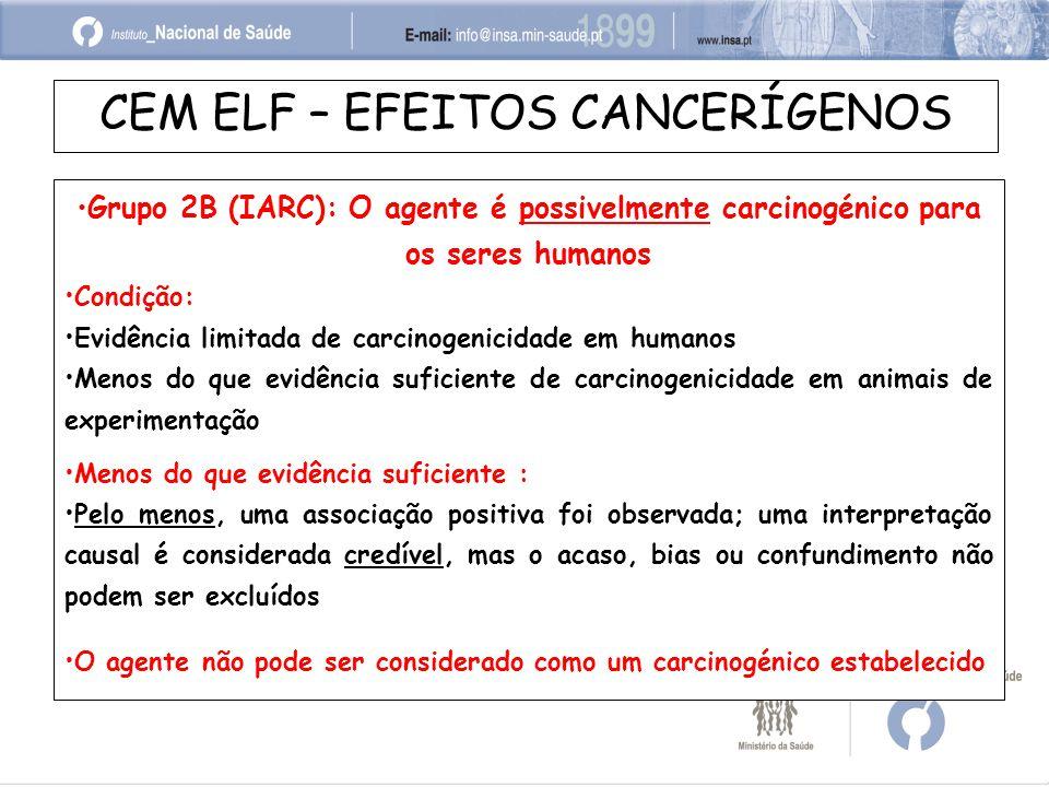 CEM ELF – EFEITOS CANCERÍGENOS Grupo 2B (IARC): O agente é possivelmente carcinogénico para os seres humanos Condição: Evidência limitada de carcinogenicidade em humanos Menos do que evidência suficiente de carcinogenicidade em animais de experimentação Menos do que evidência suficiente : Pelo menos, uma associação positiva foi observada; uma interpretação causal é considerada credível, mas o acaso, bias ou confundimento não podem ser excluídos O agente não pode ser considerado como um carcinogénico estabelecido