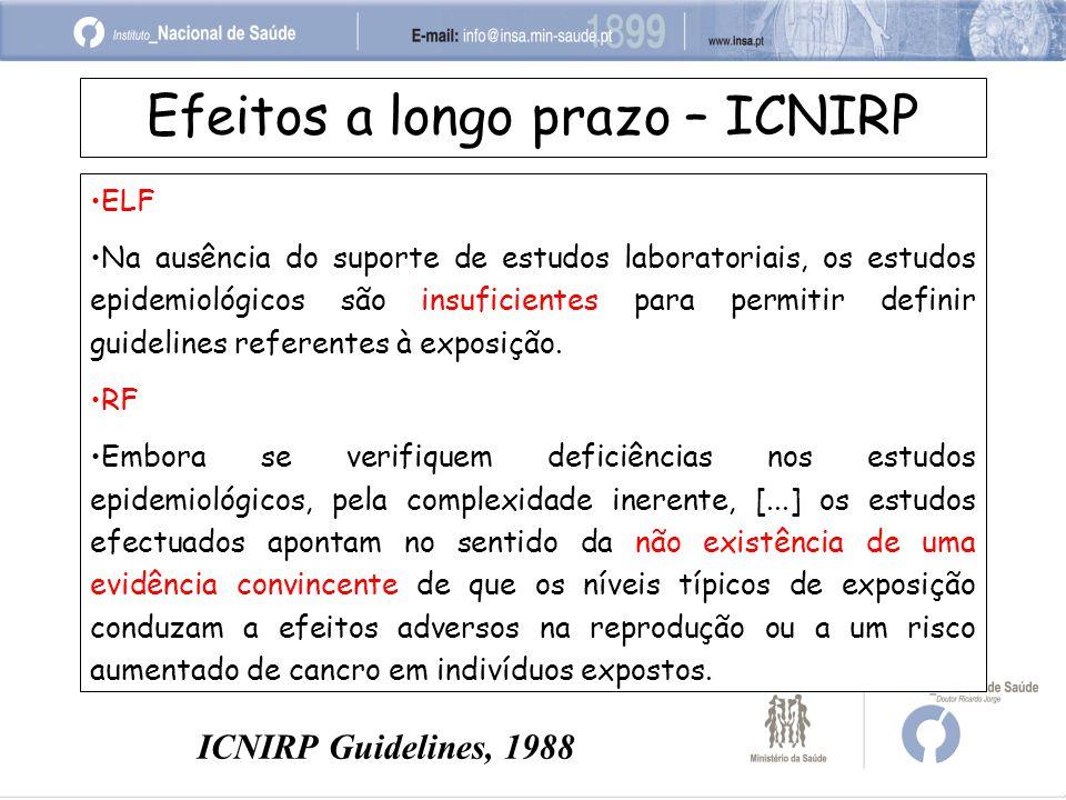 Efeitos a longo prazo – ICNIRP ELF Na ausência do suporte de estudos laboratoriais, os estudos epidemiológicos são insuficientes para permitir definir guidelines referentes à exposição.