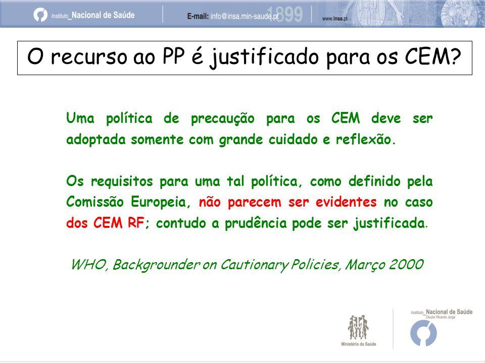 O recurso ao PP é justificado para os CEM.