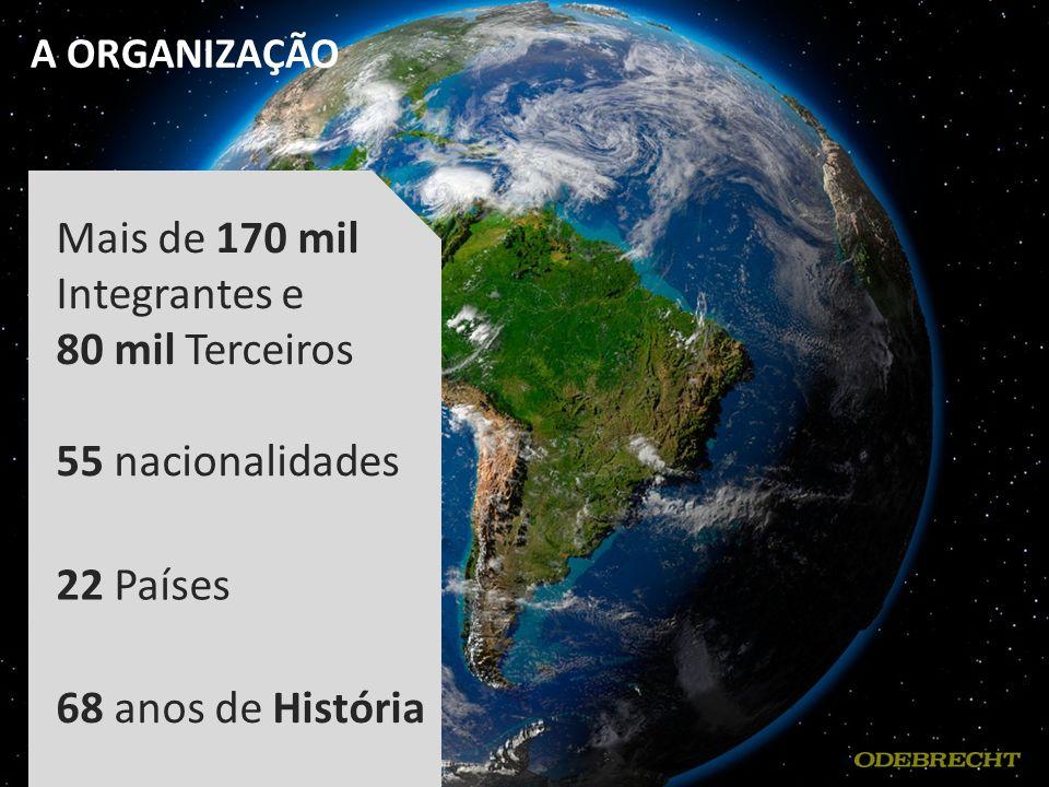 A ORGANIZAÇÃO Mais de 170 mil Integrantes e 80 mil Terceiros 55 nacionalidades 22 Países 68 anos de História