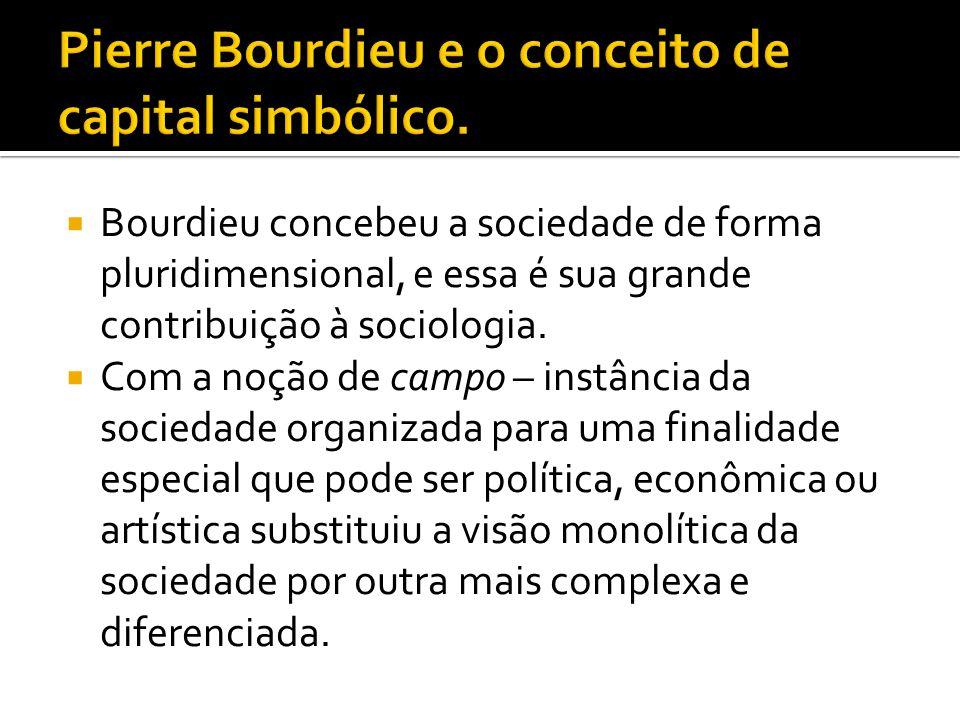  Bourdieu concebeu a sociedade de forma pluridimensional, e essa é sua grande contribuição à sociologia.  Com a noção de campo – instância da socied