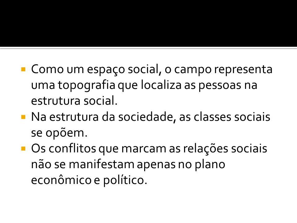  Como um espaço social, o campo representa uma topografia que localiza as pessoas na estrutura social.  Na estrutura da sociedade, as classes sociai