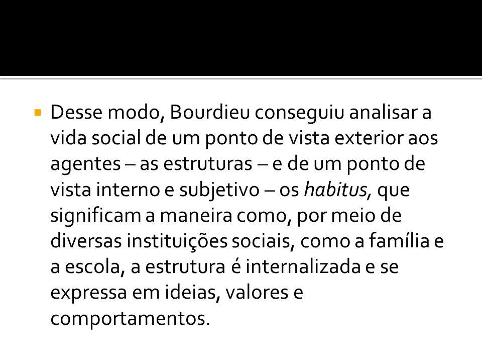  Desse modo, Bourdieu conseguiu analisar a vida social de um ponto de vista exterior aos agentes – as estruturas – e de um ponto de vista interno e s