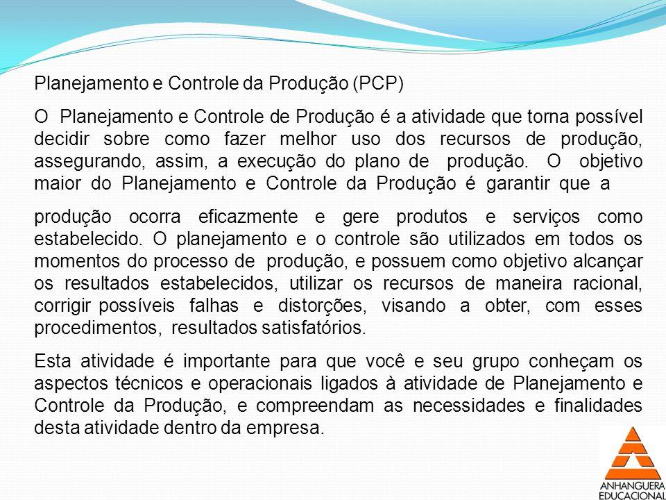 Planejamento e Controle da Produção (PCP) O Planejamento e Controle de Produção é a atividade que torna possível decidir sobre como fazer melhor uso dos recursos de produção, assegurando, assim, a execução do plano de produção.