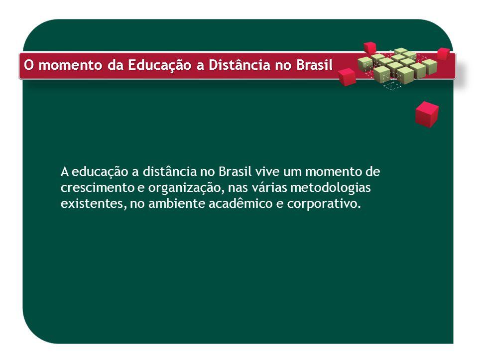 O momento da Educação a Distância no Brasil A educação a distância no Brasil vive um momento de crescimento e organização, nas várias metodologias exi