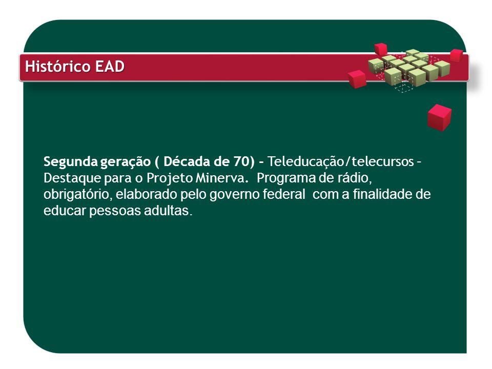 Histórico EAD Segunda geração ( Década de 70) - Teleducação/telecursos – Destaque para o Projeto Minerva. P rograma de rádio, obrigatório, elaborado p