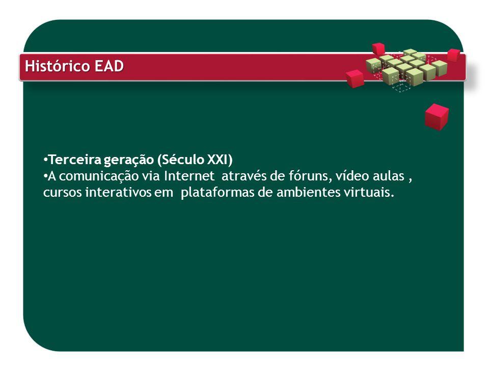 Histórico EAD Terceira geração (Século XXI) A comunicação via Internet através de fóruns, vídeo aulas, cursos interativos em plataformas de ambientes