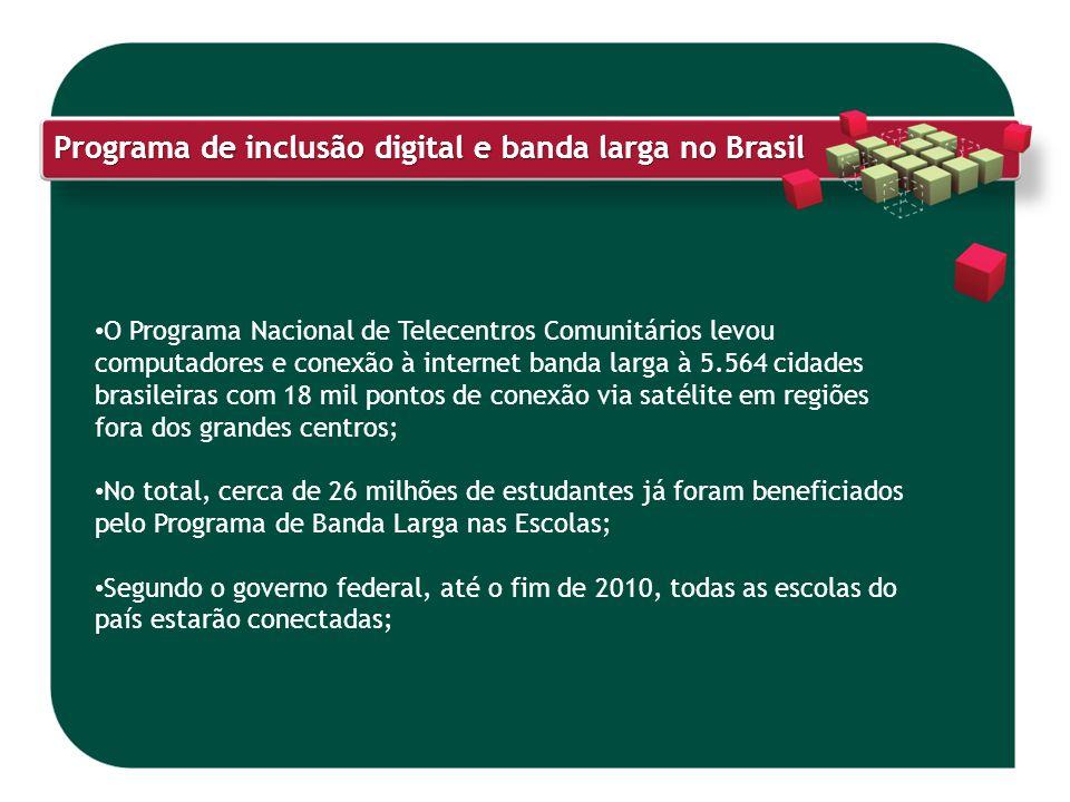 Programa de inclusão digital e banda larga no Brasil O Programa Nacional de Telecentros Comunitários levou computadores e conexão à internet banda lar