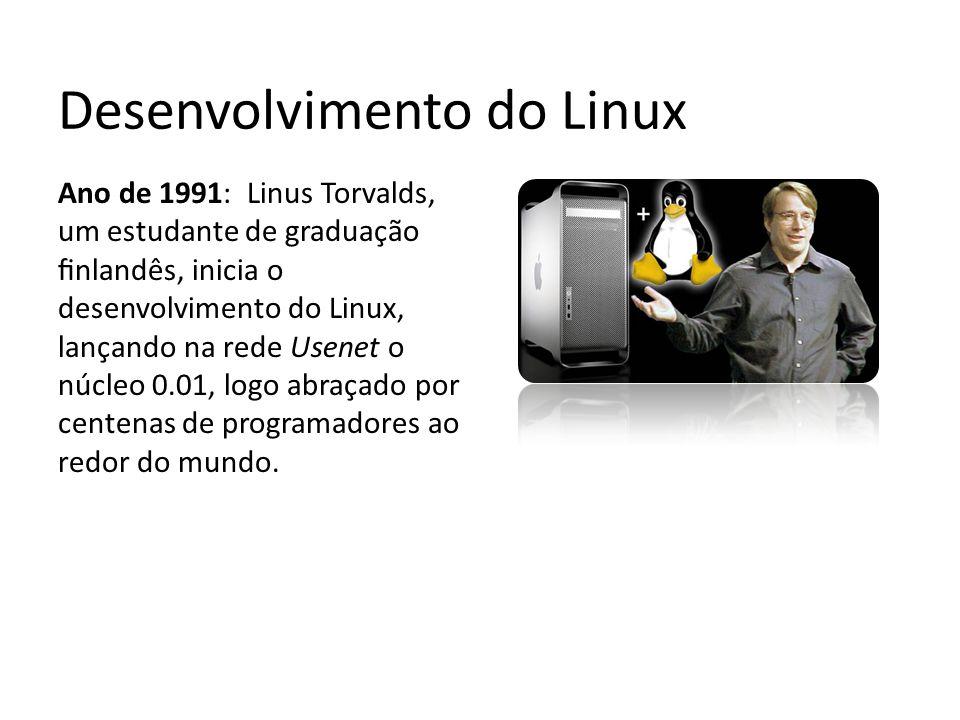 Desenvolvimento do Linux Ano de 1991: Linus Torvalds, um estudante de graduação finlandês, inicia o desenvolvimento do Linux, lançando na rede Usenet o