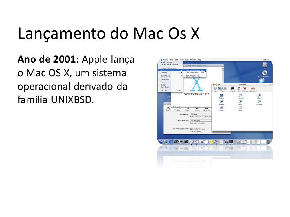 Lançamento do Mac Os X Ano de 2001: Apple lança o Mac OS X, um sistema operacional derivado da família UNIXBSD.