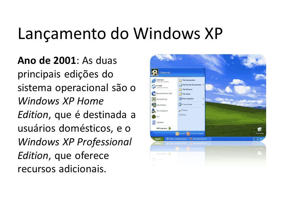 Lançamento do Windows XP Ano de 2001: As duas principais edições do sistema operacional são o Windows XP Home Edition, que é destinada a usuários domé