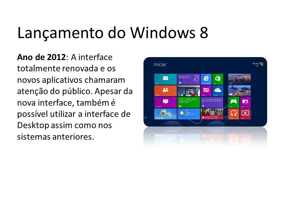 Lançamento do Windows 8 Ano de 2012: A interface totalmente renovada e os novos aplicativos chamaram atenção do público. Apesar da nova interface, tam