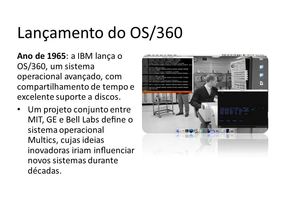 Lançamento do OS/360 Ano de 1965: a IBM lança o OS/360, um sistema operacional avançado, com compartilhamento de tempo e excelente suporte a discos. U