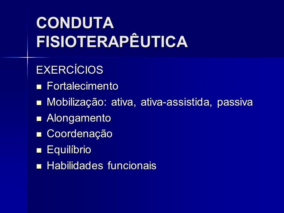 CONDUTA FISIOTERAPÊUTICA EXERCÍCIOS Fortalecimento Fortalecimento Mobilização: ativa, ativa-assistida, passiva Mobilização: ativa, ativa-assistida, pa
