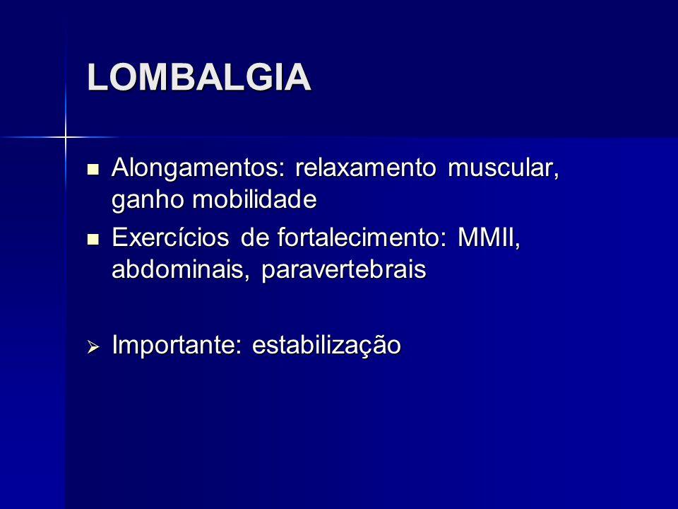 LOMBALGIA Alongamentos: relaxamento muscular, ganho mobilidade Alongamentos: relaxamento muscular, ganho mobilidade Exercícios de fortalecimento: MMII